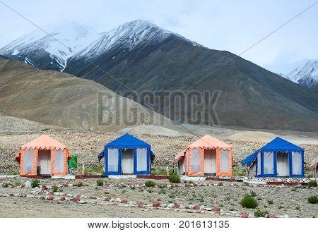Tented Tourist Camps At Pangong Lake
