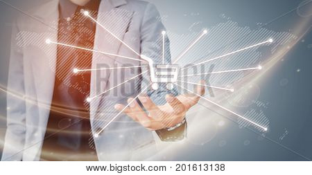 Businessman Hand Showing Virtual Graph On The Screen Map Point, Network Connection Shopping Online,