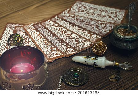 Tarot cards on fortune teller table. Divination. Witchcraft.