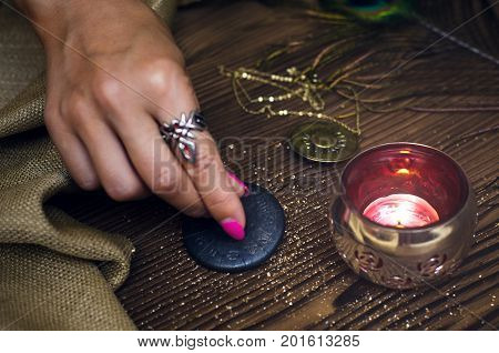Fortune teller table. Divination. Witchcraft. Horoscope amulet.