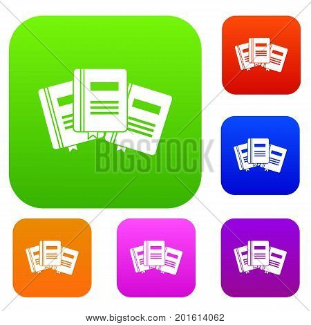 Three books with bookmarks set icon in different colors isolated vector illustration. Premium collection