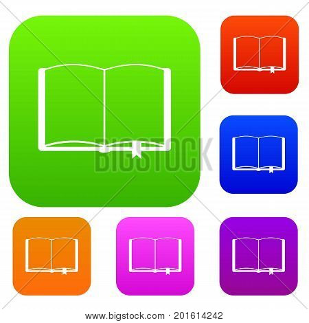 Open book with bookmark set icon in different colors isolated vector illustration. Premium collection