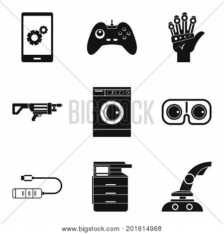 Control icons set. Simple set of 9 control vector icons for web isolated on white background