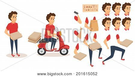 Food delivery service. Order from restaurant. Character creation animation set. Man courier with scooter, pizza box, phone, grocery paper bag. Body parts, face expression, lips, mouse sync design