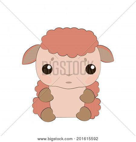 Vector illustration. Cute baby lamb. Very touchy lamb.Very cheerful lamb.