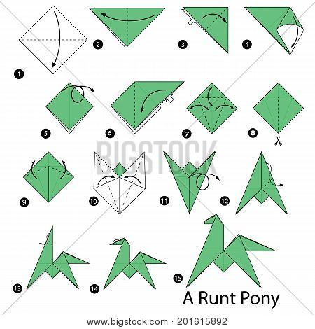 step by step instructions how to make origami A Runt Pony