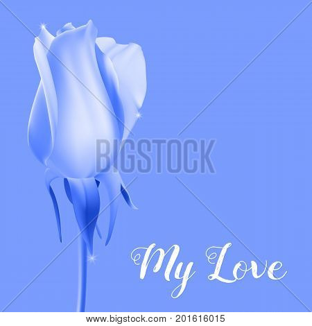 Realistic rose Bud with stem and leaves. Monochrome postcard blue, close-up the flower Bud of the rose. The symbol of romance and love, a template for a greeting card, 3D illustration.