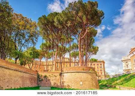 Adrian Park (parco Adriano) Near The Castle Of Saint Angel (castel Sant'angelo). Rome. Italy.