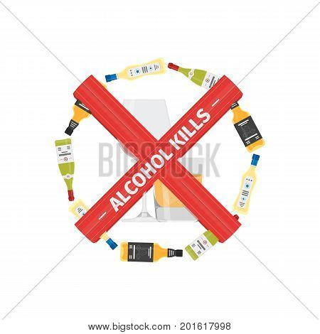 Vector flat icon of concept stop drinking alcohol with bottle with glass. Vector realistic flat no alcohol icon isolated on white background.