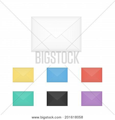 Vector set of closed different colors, incl. white, black and red, envelopes. Isolated on white background mockup template of bright colored paper envelope for business letter, advertisement, invitation cards or money.