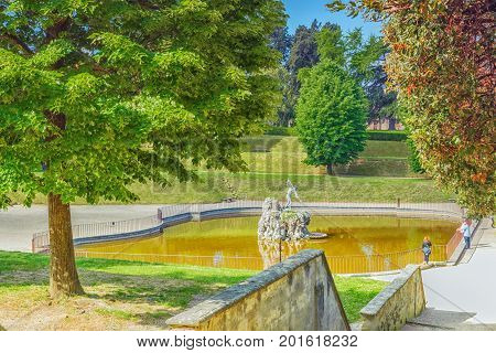 Florence, Italy- May 14, 2017:  Boboli Gardens (giardino Di Boboli)  In Florence - City Of The Renai