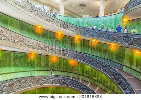 Vatican-city, Vatican- May 09, 2017: Inside The Vatican Museum .bramante Staircase. Name Given To Tw
