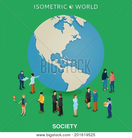 Be worldwide cosmopolitan globalization flat 3d web isometric infographic concept vector. Micro people standing around huge earth planet globe. Isometric world.