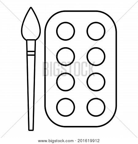 Paint brush palette icon. Outline illustration of paint brush palette vector icon for web