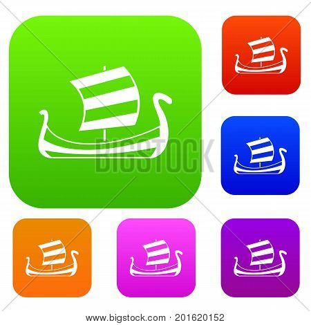 Medieval boat set icon in different colors isolated vector illustration. Premium collection