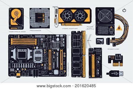 computer accessories parts for cryptomining farm, hand drawn, vector illustration components. isolated on white background.