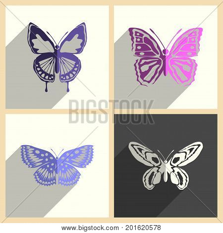Butterfly set of flat icons with shadow. Simple vector illustration