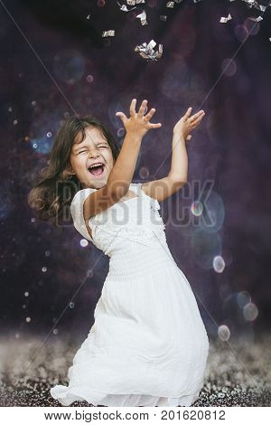 Little Girl Child Cute And Beautiful Background Glare Happy Happy With Confetti