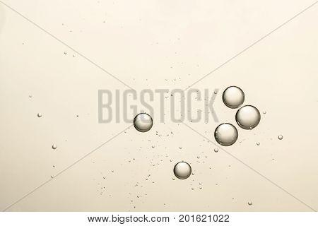 Beautiful golden air bubbles amount fizz bubbles