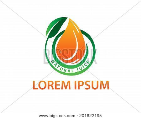 drop of orange juice with leaf, orange juice logo, natural juice logo, symbol design, isolated on white background.