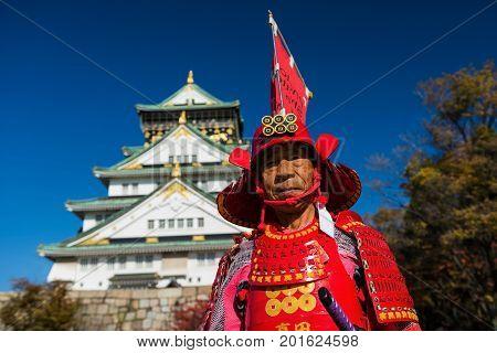 Old Samurai At Osaka Castle