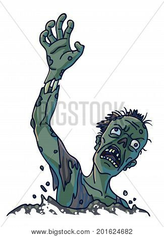 Zombie that climbs out of ground with green skin, bulging eyes, shreds of hair, hole instead of nose, naked bones and ripped clothes isolated cartoon vector illustration on white background.
