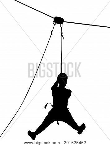 boy in adventure park rope ladder. Strong young men in a rope park on the wood background. Silhouette Adventure. Rescue mountain unit