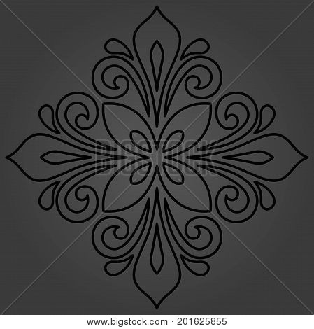 Oriental dark pattern with arabesques and floral elements. Traditional classic ornament. Vintage pattern with arabesques
