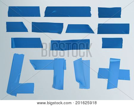 Vector illustration in a realistic style set of different slices of a blue tape with shadow and wrinkles isolated on a gray. Print, template, design element