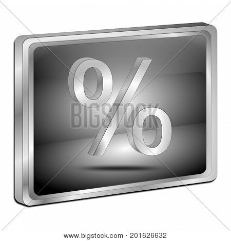 glossy silver Discount button - 3D illustration