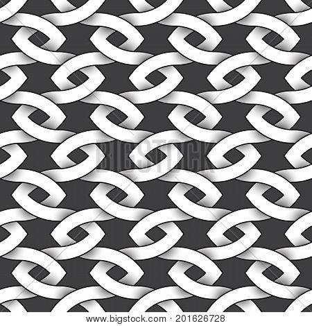 Abstract repeatable pattern background of white twisted bands with black strokes. Swatch of intertwined sinuous bands. Seamless pattern in vintage style.