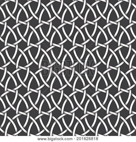 Abstract repeatable pattern background of white twisted bands with black strokes. Swatch of intertwined wavy bands. Seamless pattern in vintage style.