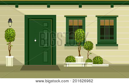 Vector illustration of the facade of a wooden house entrance door to the building of a home garden on the doorstep into the room