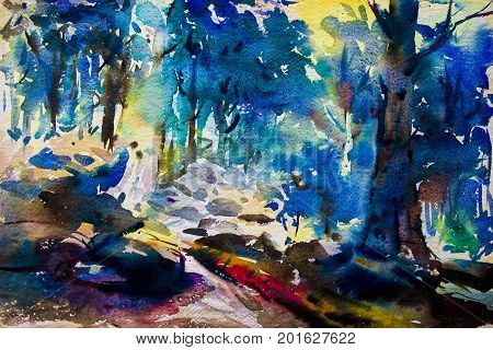 Watercolor landscape original painting colorful of trees in forest colorful autumn trees. Hand Painted Impressionist outdoor landscape