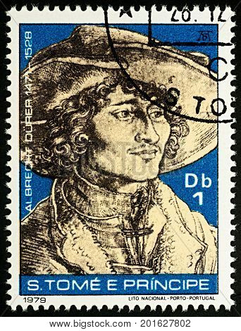 Moscow Russia - August 28 2017: A stamp printed in Sao Tome and Principe shows portrait of a young man with hat by Durer series