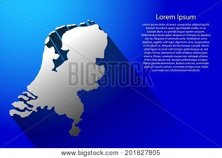 Abstract map of Netherlands with long shadow on blue background of vector illustration