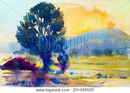 Watercolor painting original landscape colorful of trees meadow cornfield in mountain and sky background. Hand Painted Impressionist outdoor landscape