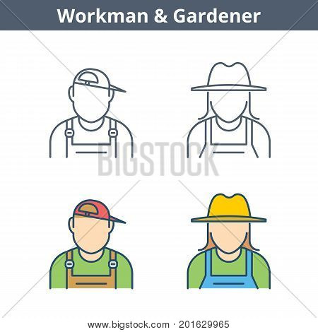 Occupations colorful avatar set: workman, gardener. Flat line professions userpic collection. Vector thin outline icons for user profiles, web design, social networks and infographics.