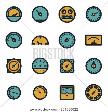 Vector flat meter icons set on white background