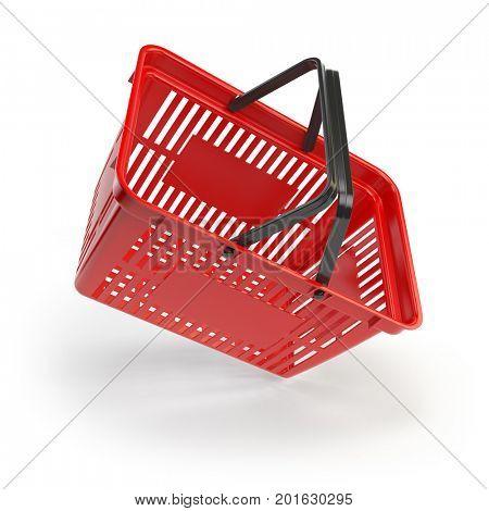 Empty shopping basket isolated on white background. 3d illustration