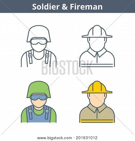 Occupations colorful avatar set: fireman, soldier. Flat line professions userpic collection. Vector thin outline icons for user profiles, web design, social networks and infographics.