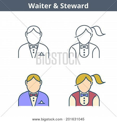 Occupations colorful avatar set: waiter, steward. Flat line professions userpic collection. Vector color thin outline icons for user profiles, web design, social networks and infographics.