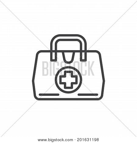 Medical bag line icon, outline vector sign, linear style pictogram isolated on white. First aid kit symbol, logo illustration. Editable stroke. Pixel perfect vector graphics