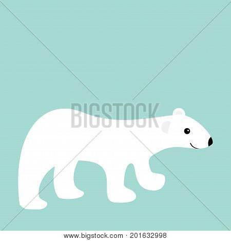 Arctic polar white bear cub. Cute cartoon baby character. Flat design. Winter blue background. Isolated. Vector illustration