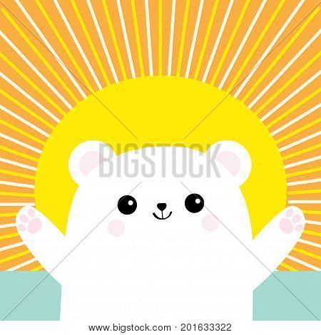 Polar white little bear cub. Reaching for a hug. Cute cartoon baby character. Open hand ready for a hugging. Arctic animal. Flat design. Sun shining rays Sunset sundown orange cloud background. Vector