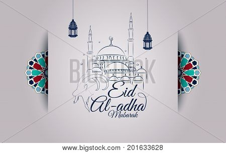 Vector illustration vector photo free trial bigstock vector illustration of eid al adha greeting card with goat head and mosque m4hsunfo