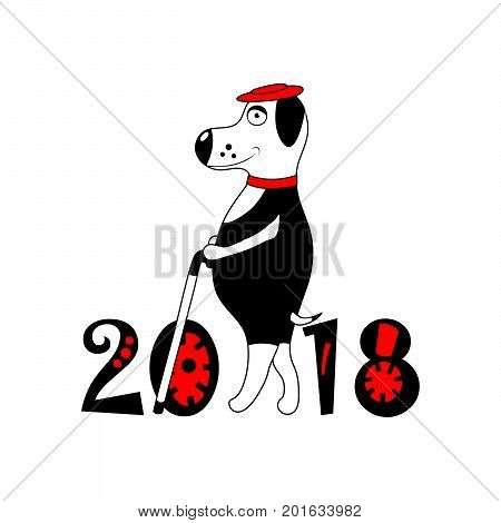 white Dog with red hat and cane as symbol 2018. isolated. vector.