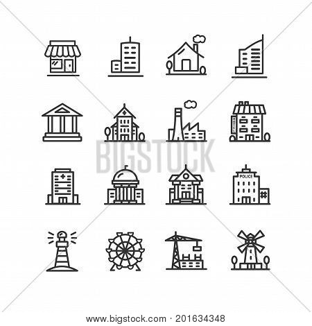 Building House or Home Black Thin Line Icon Set for Web and App Include of Apartment, Factory, Hotel, Windmill and Warehouse Construction. Vector illustration of Homes or different buildings