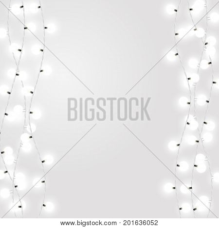 White garland style Christmas lights on the gray background. Vector design elements with dcorative incandescent lamps.