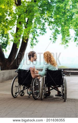Forever together. Rear view of a nice senior couple sitting in the wheelchairs and expressing love while walking in the park